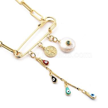 Evil Eye Brass Enamel Pendant Necklaces(NJEW-JN03053-01)-1