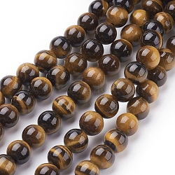 "Chapelets de perles d'œil de tigre naturel, rond, 8mm, trou: 1 mm environ 24 perle / Chapelet, 8""(G-C076-8mm-1B)"