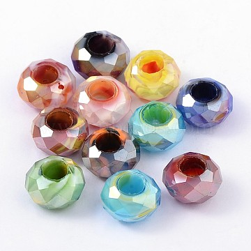 14mm Mixed Color Rondelle Glass Beads