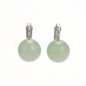 Natural Gemstone Clip-on Earrings, with Brass Earring Components, Green Aventurine, 19x12x19mm, Hole: 1mm(EJEW-JE01517-06)