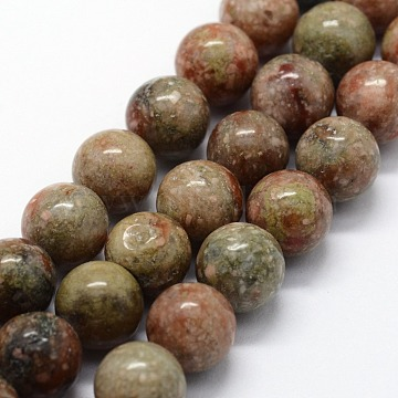 Natural Unakite Beads Strands, Round, 8mm, Hole: 1mm; about 46pcs/strand,  14.76inches(37.5cm)(X-G-I199-19-8mm)