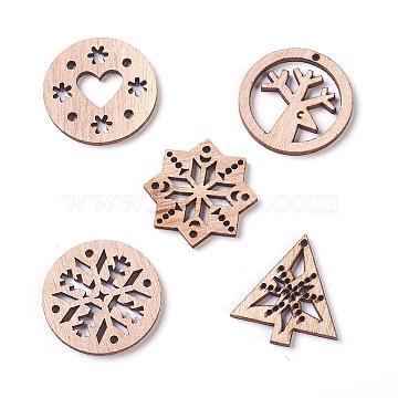Christmas Theme Undyed Wood Pendants, Mixed Shapes, BurlyWood, 29~30x27~30x2.1mm, Hole: 1mm(X-WOOD-I003-02)