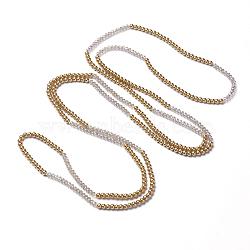 """Facettes colliers de perles de verre ronde, avec une perle de verre ronde, colliers double couche, darkgoldenrod, 66.9"""" (170 cm)(NJEW-K077-02)"""