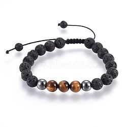 bracelets de perles tressées de perles de hématite synthétiques de lave naturelle et non magnétiques, avec oeil de tigre naturel, 2-1 / 8 3 cm)(X-BJEW-JB03975-25)