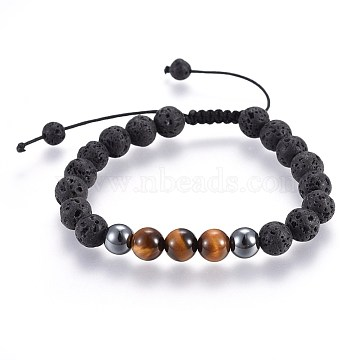 Natural Lava Rock and Non-Magnetic Synthetic Hematite Beads Braided Bead Bracelets, with Natural Tiger Eye, 2-1/8 inches~3 inches(5.3~7.8cm)(X-BJEW-JB03975-25)