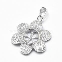 Pendentif de bélière en 925 argent sterling, avec zircons, pour la moitié de perles percées, fleur, clair, platine, Plateau: 8 mm, 22x18x3mm, Trou: 3x5mm, pin: 0.9 mm(STER-P040-13P)