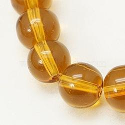 Круглые золотистые стеклянные бусины, 6 мм, Отверстие : 6 мм; около 1 шт / нитка, 50