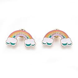 broches d'alliage, broche en émail, avec l'émail, arc-en-ciel avec mot licorne, coloré, or et de lumière, 21x38.5 mm(JEWB-G006-12LG)