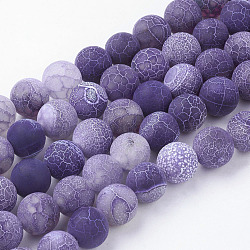Natural Crackle Agate Beads Strands, Dyed, Round, Grade A, Purple, 10mm, Hole: 1mm; about 39pcs/strand, 14.9inches