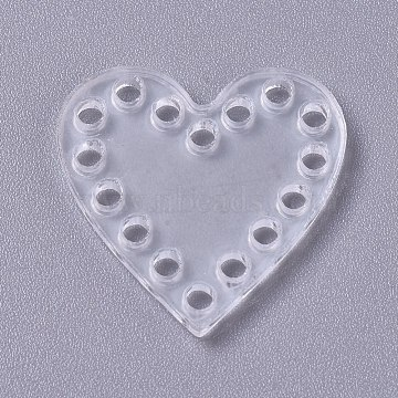 Transparent Acrylic Weaving Board, Weaving Material, for Knitting Bag, Women Bags Handmade DIY Accessories, Heart, Clear, 25x25x2mm, Hole: 2mm(DIY-WH0152-89)