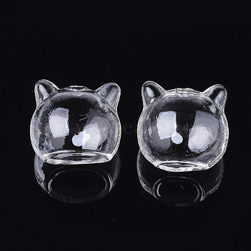 Handmade Kitten Blown Glass Globe Beads, Cat Head, Clear, 22~24x24~24.5x22mm, Hole: 10~14x11~15mm and 2mm(BLOW-T001-31)