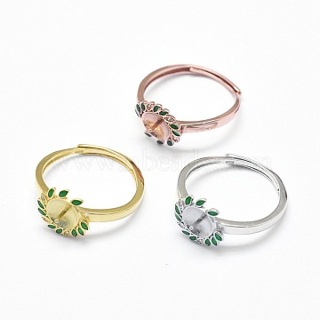 Adjustable 925 Sterling Silver Finger Ring Components, For Half Drilled Beads, with Cubic Zirconia and Enamel, Flower, Mixed Color, 18mm; Tray: 7mm; Pin: 0.8mm(STER-F045-13)