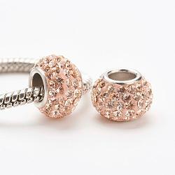 cristal autrichien perles européennes, grandes perles de trou, le noyau sterling silver, rondelle, 362 _light pêche, 11~12x7.5 mm, trou: 4.5 mm(STER-E049-E14)