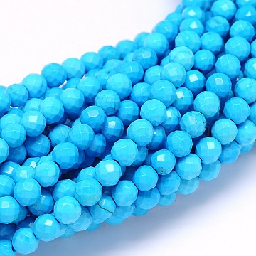 6mm Cyan Round Sinkiang Turquoise Beads