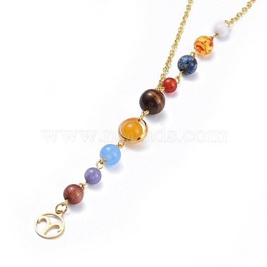 Universe Galaxy The Nine Planets Guardian Star Stone Necklaces(NJEW-JN02413-01)-2