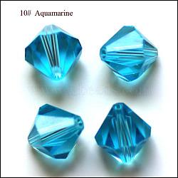 imitation perles de cristal autrichien, AAA grade, facettes, Toupie, cyan, 6x6 mm, trou: 0.7~0.9 mm(SWAR-F022-6x6mm-202)
