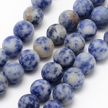 Natural Blue Spot Jasper Round Bead Strands, Frosted, Round, 8mm, Hole: 1mm, about 48pcs/strand, 15.1 inches(X-G-D679-8mm)