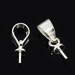 Soutiens-gorge tasse perle cheville bails broches pendentifs, pour la moitié de perles percées, argenterie, 11x4x3mm, pin: 0.6 mm(KK-E473-S)