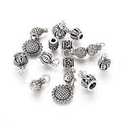925 thai pendentifs en argent sterling, formes mixtes, argent antique, 8~27x7~14x3.5~10mm, Trou: 1.2~4mm(STER-F050-03AS)