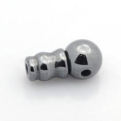 Non-magnétiques synthétiques hématite 3 perles trou gourou, perles t-percées, noir, 15x7mm, Trou: 1~2mm(G-P046-19)