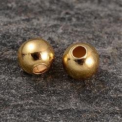 perles rondes en argent sterling plaqué or véritable 18 k, 3x2.7 mm, trou: 1 mm(STER-K015-H153-3mm-G)