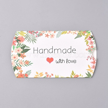 Paper Pillow Boxes, Gift Candy Packing Box, Flower Pattern & Word Handmade with Love, White, Box: 12.5x7.6x1.9cm; Unfold: 14.5x7.9x0.1cm(X-CON-L020-01A)