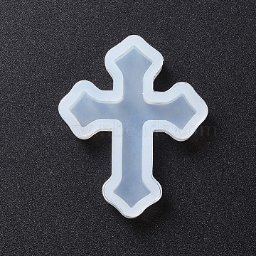 DIY Silicone Molds, Resin Casting Molds, For UV Resin, Epoxy Resin Jewelry Pendants Making, Cross, White, 39x32x5mm(X-AJEW-F030-06C)