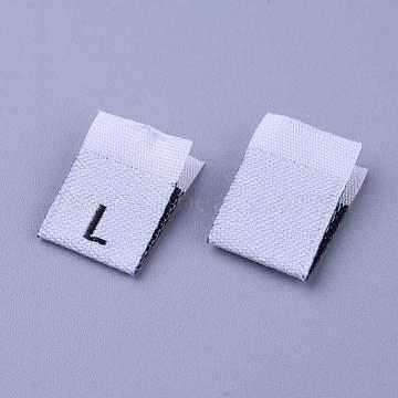 Clothing Size Labels(L), Garment Accessories, Size Tags, White, 18x12.5x1mm, 200pcs/bag(FIND-WH0045-C01)