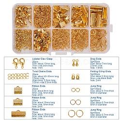 Kits accessoires de bijoux, avec des extrémités de sertissage et des extrémités de ruban pliables en fer et des anneaux de saut et des chaînes torsadées, alliage embout et laiton homard fermoirs griffe, or, 5~55x2.5~8x0.7~5mm, Trou: 1~2mm(FIND-PH0005-01G)