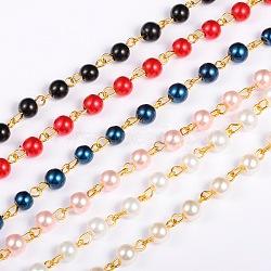 """Chaînes en perles de verre rondes ùanuelles pour fabrication de colliers et bracelets, avec épingle à œil en fer doré, non soudée, couleur mixte, 39.3""""; perles: 6 mm(AJEW-JB00036)"""