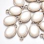 Light Gold White Oval Acrylic Pendants(X-OACR-T005-66KC)
