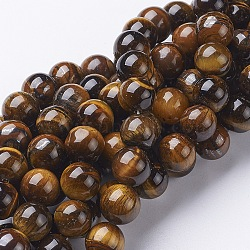 Gemstone Strands, Tiger Eye, about 10mm in diameter, hole: 1mm, 39pcs/strand, 15.5inches