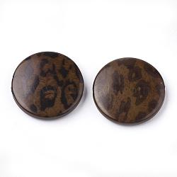 Perles acryliques imprimées, plat rond, marron, 25x5.5mm, trou: 1.8 mm; environ 215 pcs / 500 g(OACR-S022-14B)