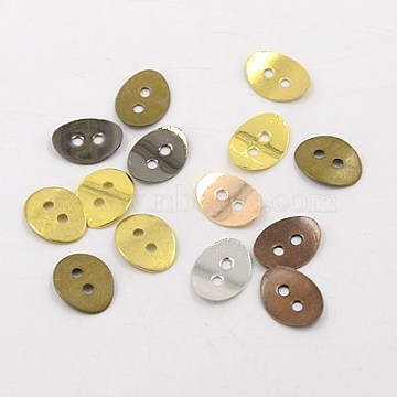 Brass Button Clasps, Mixed Color, 14x10mm, Hole: 2mm(KK-G080-M)