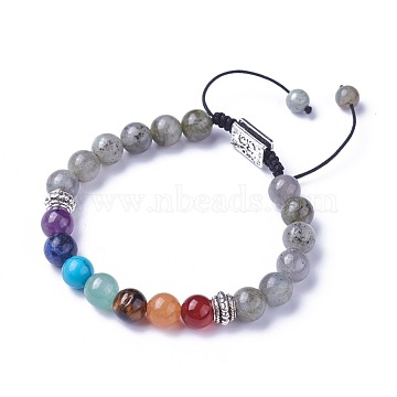 Chakra Jewelry, Natural & Synthetic Mixed Stone Braided Bead Bracelets, with Natural Labradorite, Alloy Findings and Nylon Cord, Rectangle with Om Symbol, 2 inches~3 inches(5.2~7.6cm)(BJEW-I273-I13)