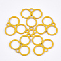 Spray Painted Alloy Links, Three Rings, Gold, 21x23x1.5mm, Hole: 2mm