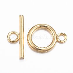304 Stainless Steel Toggle Clasps, Golden, Ring: 16x12x2mm, Hole: 2.5mm; Bar: 18x7x2mm, Hole: 3mm