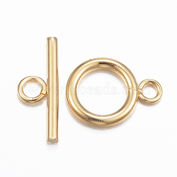 304 Stainless Steel Toggle Clasps, Golden, Ring: 16x12x2mm, Hole: 2.5mm; Bar: 18x7x2mm, Hole: 3mm(STAS-E147-58G)