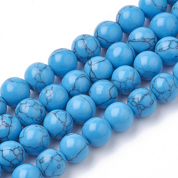 8mm DodgerBlue Round Synthetic Turquoise Beads