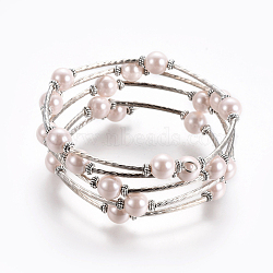 Bracelets enroulés à la mode, verre bracelets de perles avec des perles tubulaires, rose, Bracelet: environ 60 mm de diamètre intérieur, vendu par 40 bracelets(X-J-JB00041-10)