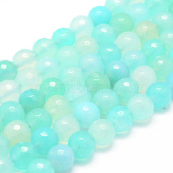 Natural Agate Bead Strands, Round, Faceted, Dyed & Heated, Aquamarine, 8mm, Hole: 1mm; about 47~48pcs/strand, 14.5inches