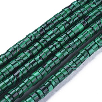 Synthetic Malachite Beads Strands, Heishi Beads, Flat Round/Disc, 4x2mm, Hole: 0.6mm; about 149~171pcs/Strand, 15.35 inches~15.55 inches(39~39.5cm)(G-F631-A39)
