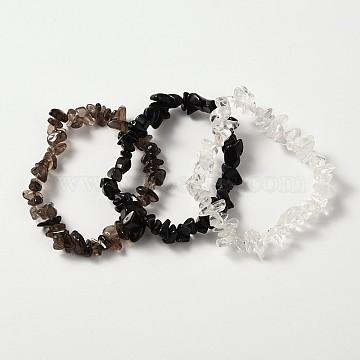 Multi-strand Gemstone Chips Stretch Bracelets, 3 Bracelets a Set, Black, 53~55mm(X-BJEW-PH00610-03)