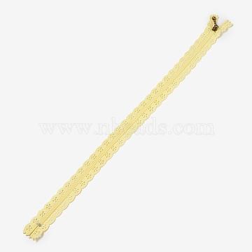 Garment Accessories, Nylon Lace Zipper, Zip-fastener Components, Light Khaki, 34x2.4cm(FIND-WH0013-A-21)