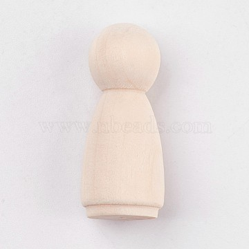 Unfinished Wood Female Peg Dolls People Bodies, for Kids Painting, DIY Crafts, Solid, Hard, Antique White, 34x14mm(X-DIY-WH0059-10A)
