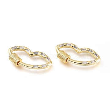 Brass Micro Pave Cubic Zirconia Screw Carabiner Lock Charms, for Necklaces Making, Lip, Golden, Clear, 13.5x26.5x4.5mm(KK-M206-16G-01)