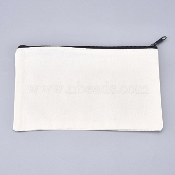 Blank DIY Craft Bag Canvas Pencil Pouch, with Black Zipper, Cosmetic Bag Multipurpose Travel Toiletry Pouch, Floral White, 12.2x20.3cm(X-ABAG-G009-D01)
