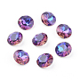 Pointed Back & Back Plated Glass Rhinestone Cabochons, Grade A, Faceted, Flat Round, Violet Blue, 8x4.5mm