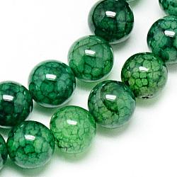 Chapelets de perles veines de dragon en agate naturelle, teint, rond, verte, 8mm, trou: 1mm; environ 48 pcs/chapelet, 14.96