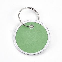 pendentifs en aluminium, avec fermoirs porte-clés en papier et en fer, plat rond, platine, lightgreen, 31x1 mm; anneau: 19x1 mm, trou: 17 mm(FIND-WH0025-02)